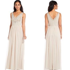 Adrianna Papell Tulle Gown Pearl Sequin Sleeveless